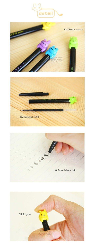 Katoot@ 8 pcs/Lot Cute kitties black ink gel pen Lucky cat Kawaii stationery zakka Office material escolar school supplies (Colorful)