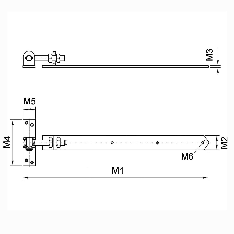 SO-TOOLS/® Gartentorscharnier 770-870 mm M20 Gartentorband Ladenband T/ürband