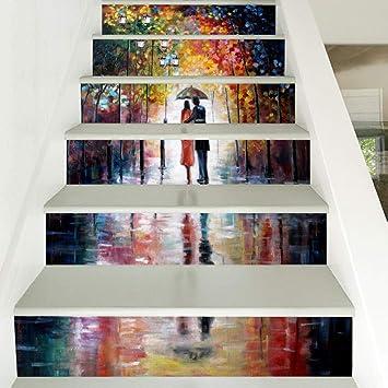 Pegatinas De Escalera 3D Paseando Bajo La Lluvia, Escaleras De San Valentín, Escaleras De Moda, Vinilos Decorativos: Amazon.es: Bricolaje y herramientas