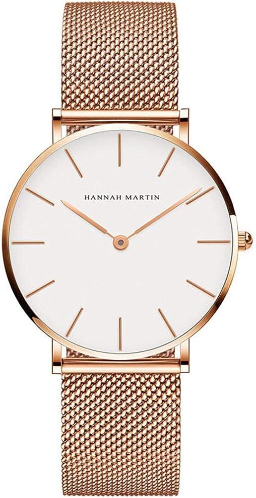 Hannah Martin Reloj de Cuarzo para Mujer Banda Malla Acero Inoxidable Ultra Delgado