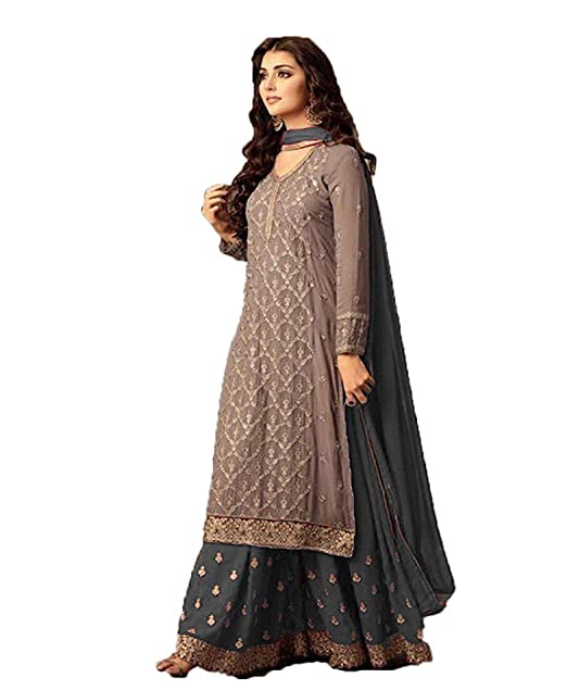 e7e0fea0f5 Life Women's Georgette Unstitched Embroidered Sarara Salwar Suit (Rj-5005,  Grey): Amazon.in: Clothing & Accessories