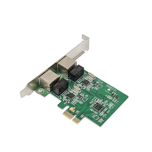 Syba SD-PEX24033 Dual LAN Ports 1000-Base T Gigabit Ethernet Card Green