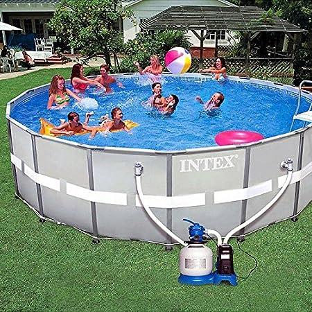 Intex 28336 - Piscina sobre el suelo de 549 x 132 cm, con arena y sistema de agua salada y accesorios: Amazon.es: Jardín