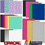 Oracal Vinyl and Siser EasyWeed Heat Transfer - Starter Sample Pack - 20 Sheets