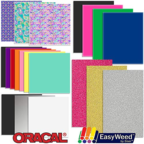 Oracal Vinyl and Siser EasyWeed Heat Transfer - Starter Sample Pack - 20 Sheets by ORACAL