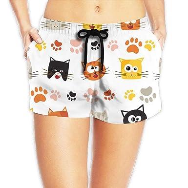 6dfca92530 Lady Cute Cartoon Cats Face Paws Athletic Beach Shorts Swim Trunks Board  Shorts Pants