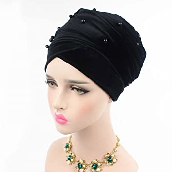Helisopus Womens Luxury Velvet Turban Headband Pearl Pleated Long Head Wrap Hijab Tube Scarf