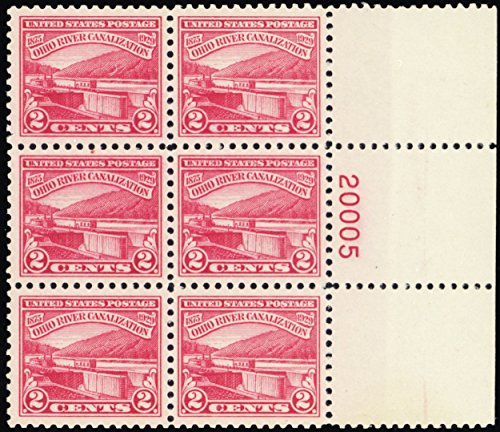 (1929 2 Cent Ohio River Canalization Mint Never Been Hinged Right Side Plate Number Block of Six Stamps Scott 681)
