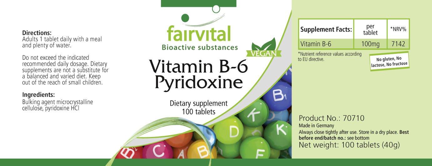 La vitamina B6 piridoxina 100mg - A GRANEL durante 100 días - vegano - ALTA DOSIS - 100 tabletas: Amazon.es: Salud y cuidado personal