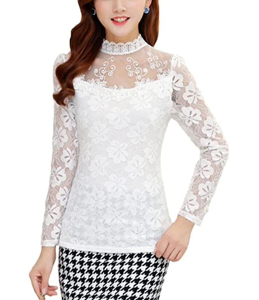Ten is Hear Ladies Blouse Tops Long Sleeve Lace Formal See-Through Floral  Thin Mesh d97749ab9