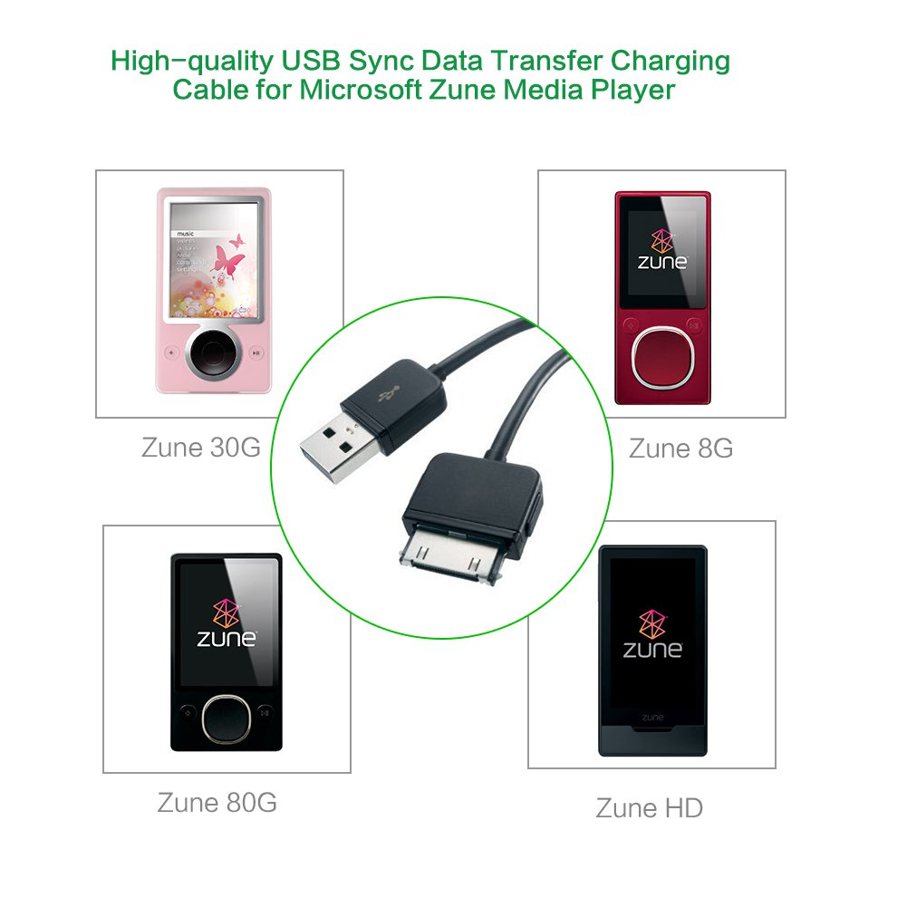 Amazon.com: 2 PACK Zune Charging Cable,HOOKE 5ft/1.5m USB 2.0 Charger and  Sync Cable for Microsoft Zune Media Player: Computers & Accessories