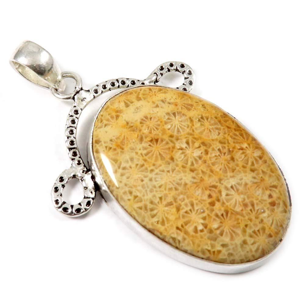 Goyal Crafts Naturel Fossil Corail Pierre précieuse de Nice Pendentif Bijoux tendance Plaqué argent Gph-01