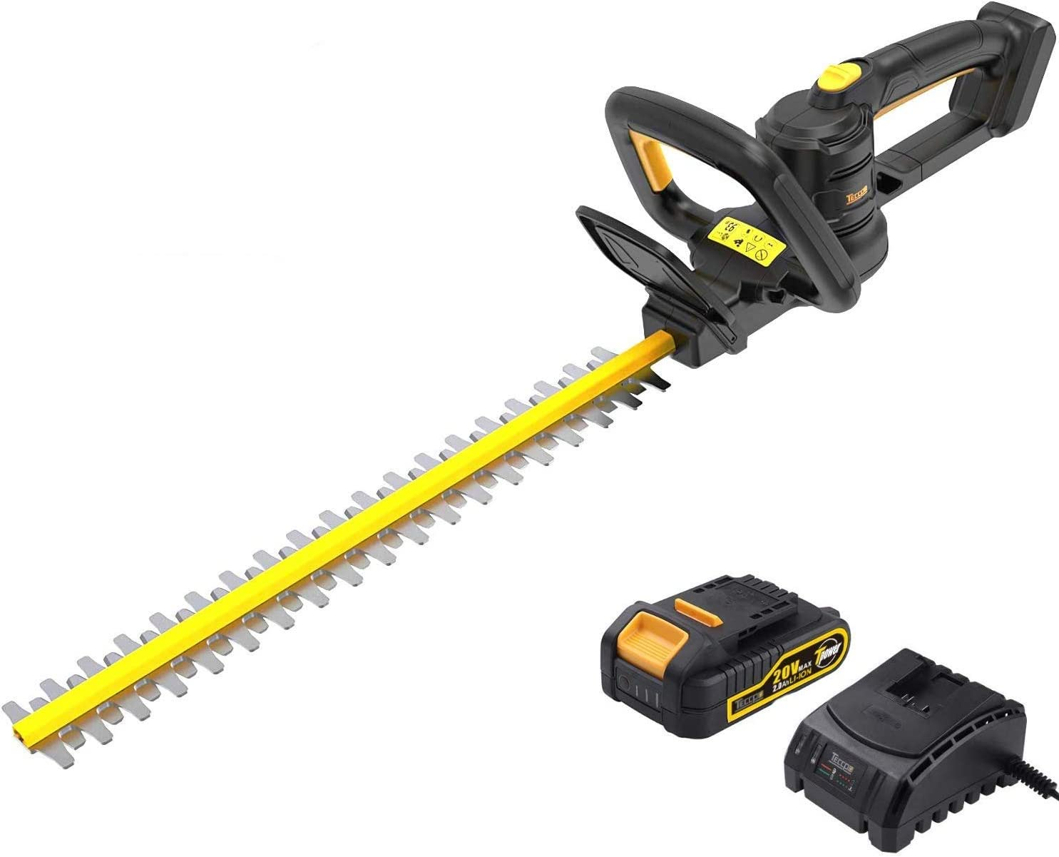 TECCPO 20V Cordless Hedge Trimmer, 20-Inch Blade Length, 3 4-Inch Cutting Thickness, Dual Action Laser Blade, Triple Safety Start Button, Battery and Charger Included – TDHT02G