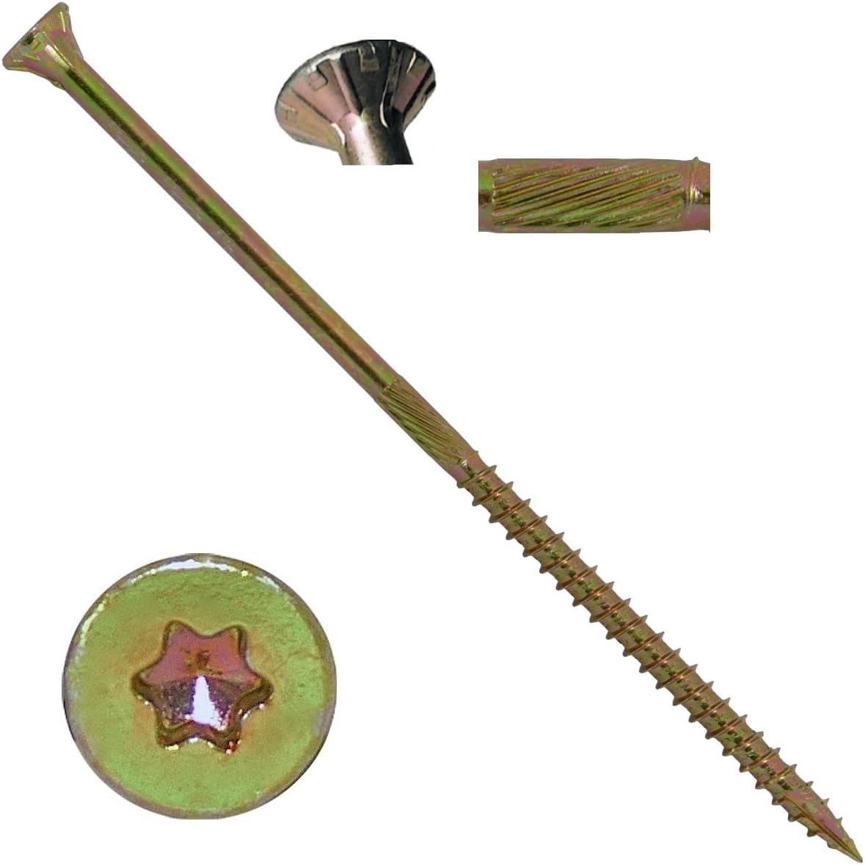 """#10 X 6"""" Gold Star Wood Screw Torx/Star Drive Head (1 Pound - 33 Approx. Screw Count) - Multipurpose Torx/Star Drive Wood Screws"""