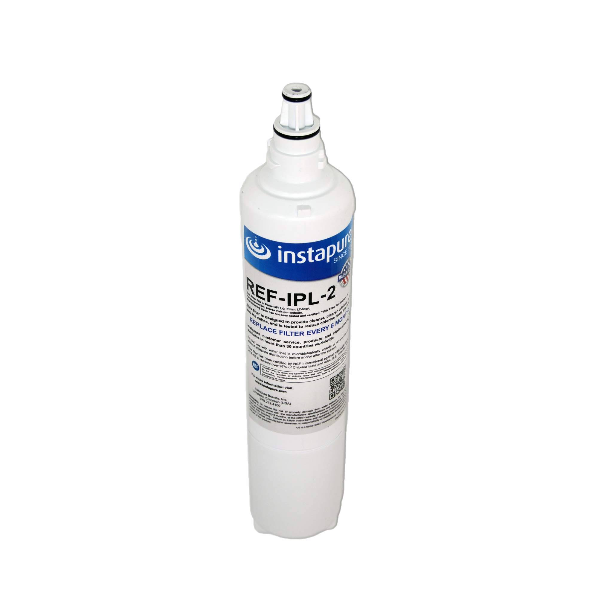 Instapure REF-IPL-2 ULTRA Refrigerator Filter, MADE IN USA, Compatible with LG LT600P, LG 5231JA2006B, and more, Tested & Certified by NSF to ANSI/NSF 42 & 53