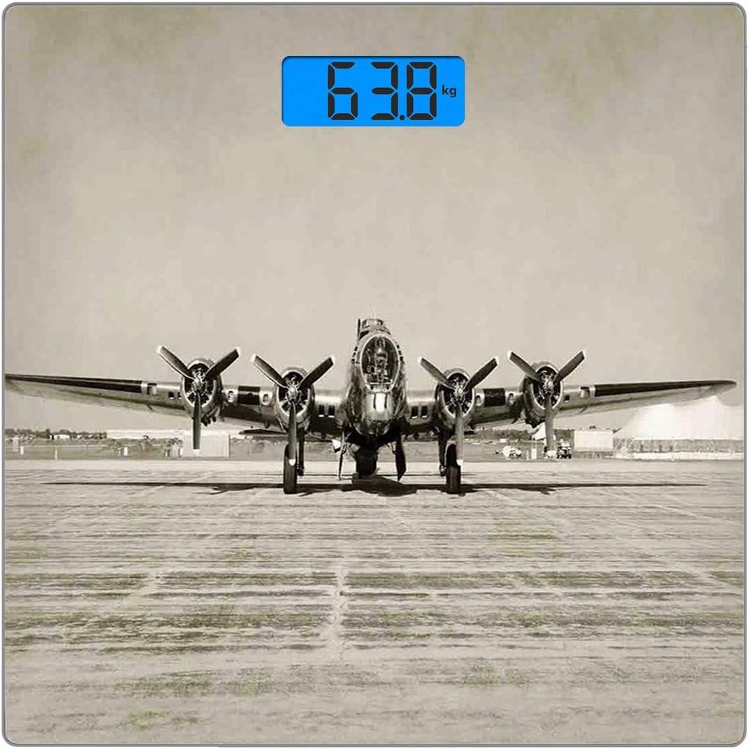 Cuadrado Básculas digitales de peso corporal ultradelgadas de vidrio templado Decoración del aeroplano Sensores de precisión Báscula de baño Mediciones de peso Era de la Segunda Guerra Mundial Bombard: Amazon.es: Salud y