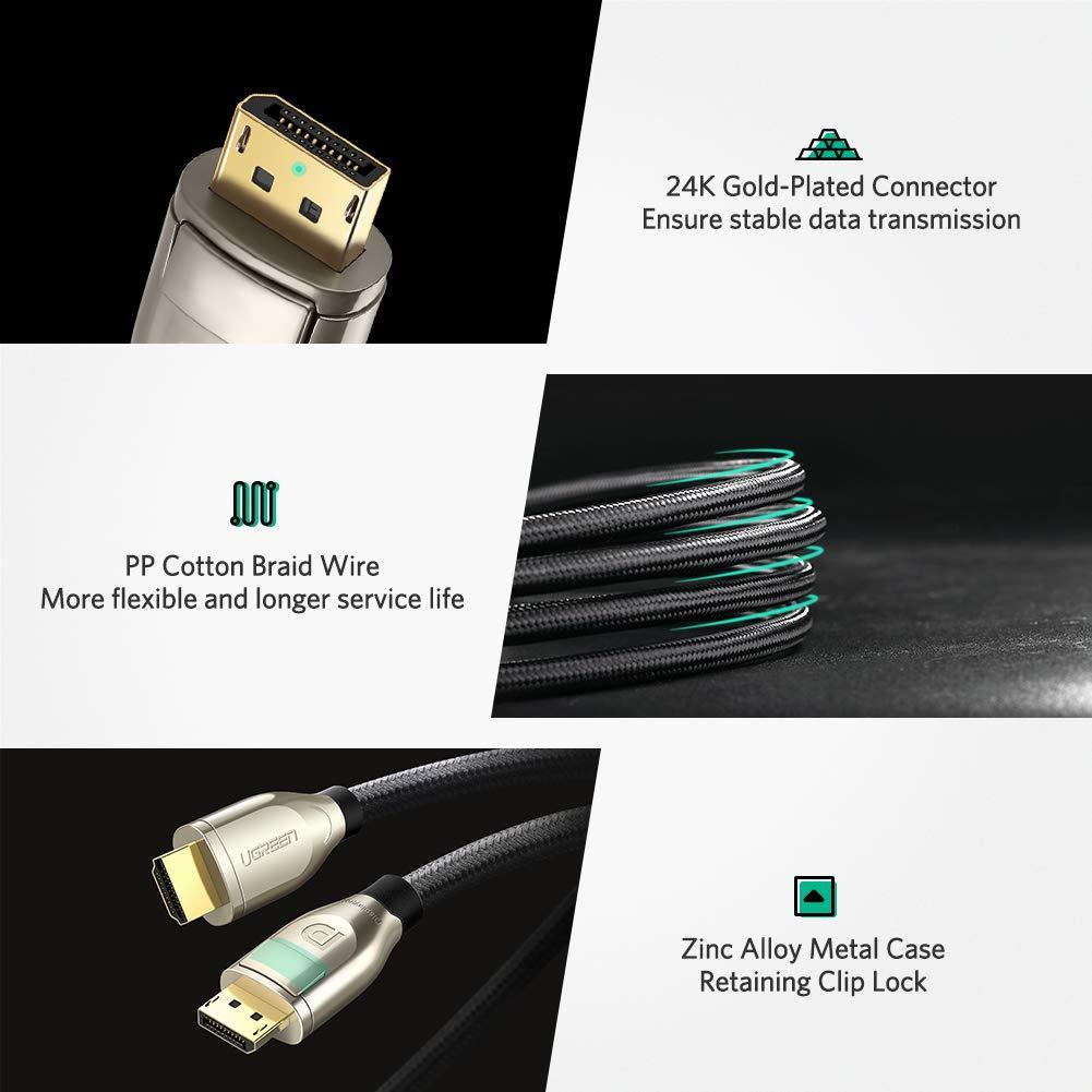 4K@60Hz Ultra HD Adattatore DP HDMI con Involucro in Lega di Zinco per Laptop PC HDTV Monitor ECC UGREEN Cavo DisplayPort a HDMI 2M in Nylon Proiettore