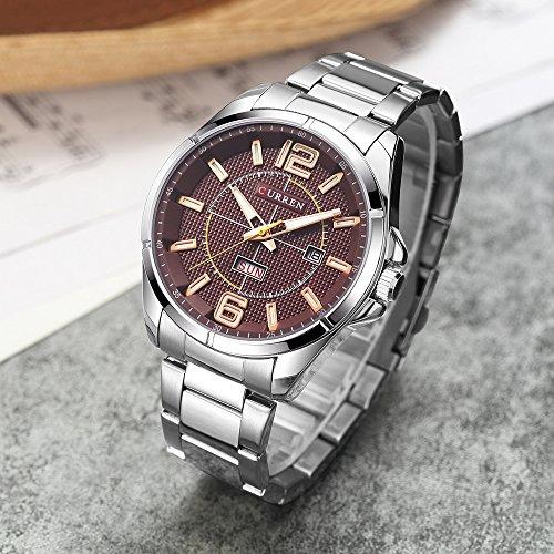 New Men Watch Quartz Water Resistant Sliver Steel Watchband Wristwatches Calendar 8271 by CURREN (Image #4)