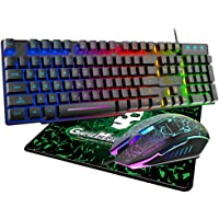 Teclado para Juegos con Retroiluminación RGB y Función Impermeable, Kit Teclado y Mouse Alambrico Gamer, Ideal para…