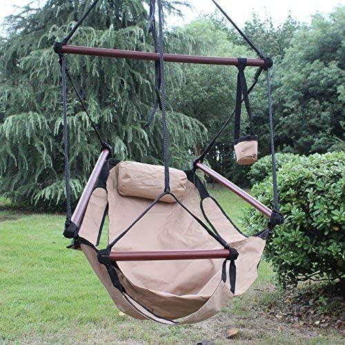 Sunnydaze Hanging Hammock Chair - 24 Inch Wide Seat - Tan - 250 lbs Weight Capacity