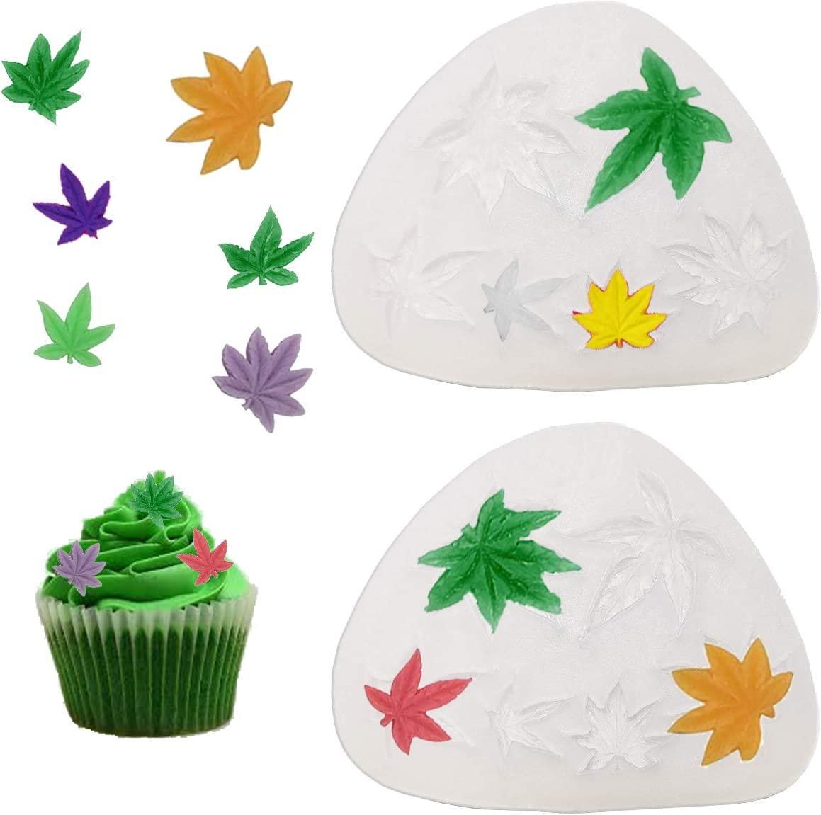 Antallcky 2 Pack Leaf Cake Fondant Mold Pot Leaves Silicone Mold for Cannabis Weed Hemp Leaf Theme Cake Decoration, Chocolate Candy Polymer Clay Cookie Sugar Craft Projects-Transparent White