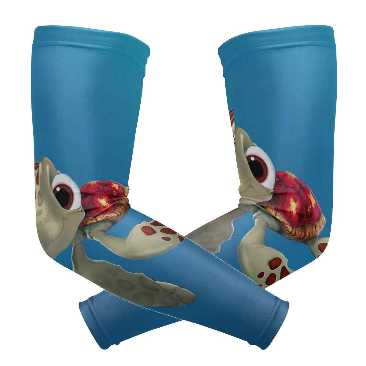Arm Sleeves Cute Turtle Cartoon Mens Sun UV Protection Sleeves Arm Warmers Cool Long Set Covers