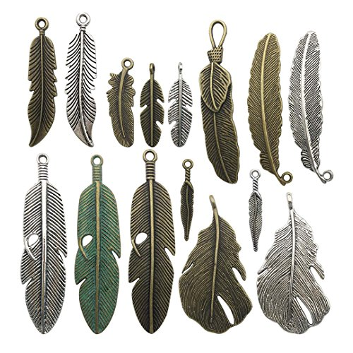 - 100g Feather Charms Collection - Antique Silver Bronze Patina Big Goose Bird Plume Plumage Pinion Wing Feather Metal Pendants for Jewelry Making DIY Findings (HM17)