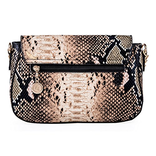 Millya Party Body Evening Shoulder Snakeskin black Bag Handbag Purse Bag Women Chain Pattern Cross Flap Leather Faux rArqP