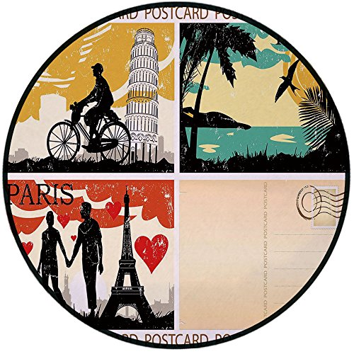 Printing Round Rug,Retro,Postcards from Italy Hawaii Paris Exotic Places in the World Nostalgic Times Print Decorative Mat Non-Slip Soft Entrance Mat Door Floor Rug Area Rug For Chair Living Room,Mult ()