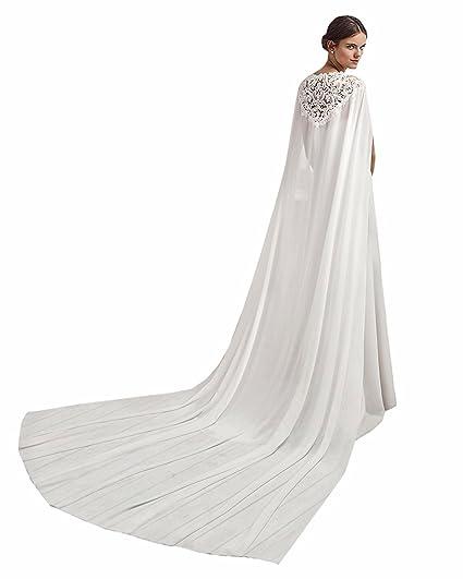 White Chiffon Long Wedding Cape for Bride Chapel Wedding Cloak (Ivory, 250cm)