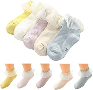 Banstore Baby Kids Girls Lace Cute Cotton Sock Slippers Ankle Socks 5 Pairs