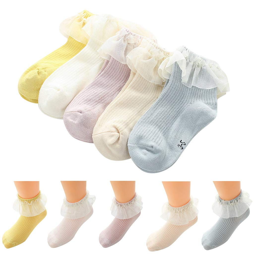 FIged Baby Gifts Solid Stripe Lace Pattern Ankle Anti-Slip Step Floor Soft Socks