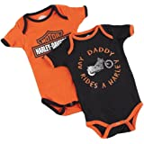 Harley Davidson Boys Baby Twin Pack Creeper My Daddy Rides A Harley Orange