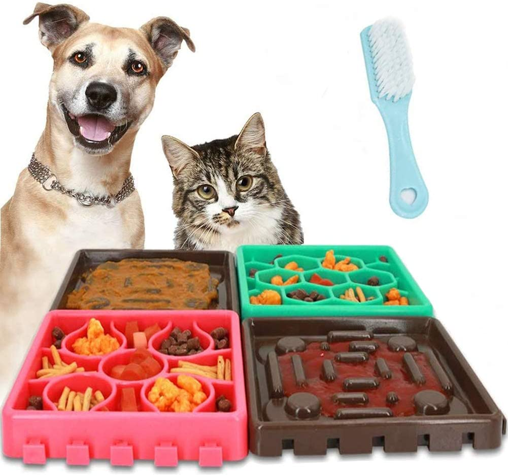 Slow Feeder Dog Bowls, Aibrisk Lickimats for Dogs&Cat 4 in 1 Dog Bath Lick MatPet Boredom Buster Lick Mat Slow Feeders with Brush,Perfect for Dog Food, Cat Food