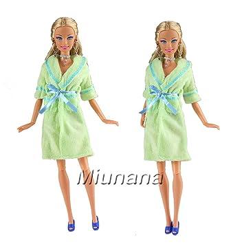 Miunana 1x Camisón Batas de baño Verde de Traje Pijama Desgaste del Sueño + 1 zapatillas