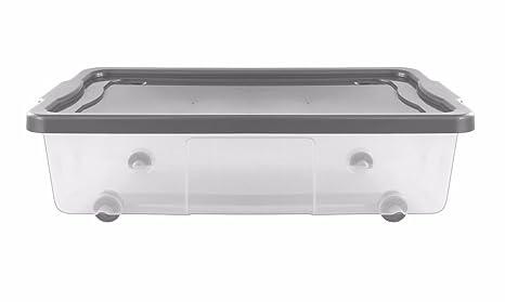 Caja de almacenamiento de plástico transparente de 30L, para meter debajo de la cama,