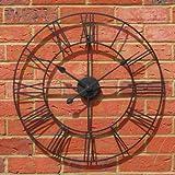 Stunning Metal Roman Numeral Clock - Black 'Iron' (60cm in diameter)
