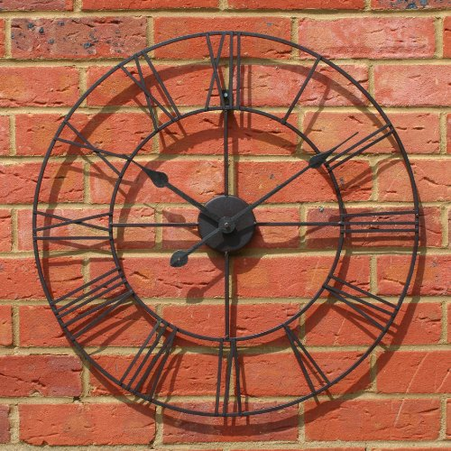 by Carousel Home 60cm in diameter Black Iron Stunning Metal Roman Numeral Clock
