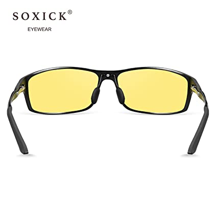 14eb2c0dcd Amazon.com  SOXICK 2018 New Style Night Driving Glasses - Anti-glare HD  Vision - Safety Night Vision glasses for Men and Women (1)  Clothing