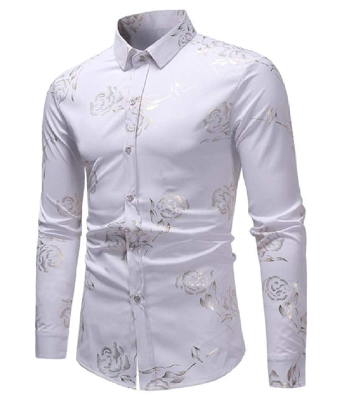 Tootless-Men Long Sleeve Printing Curvy Button Stylish Lapel Top Tshirt Shirt
