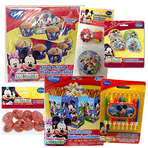 Mickey Mouse Clubhouse Party Pack, cupcake stand, cups and picks, candles, snack boxes and party favors