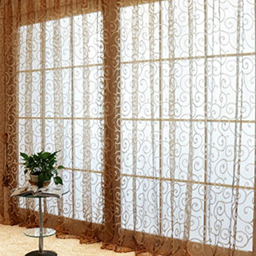 1Pc Floral Door Window Voile Tulle Valance Curtain (Coffee) - 6