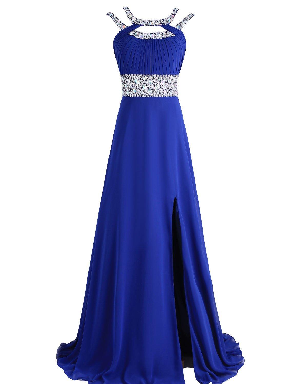 SeasonMall Women's A Line Scoop Prom Dress Open Back Size 2 US Dark Royal Blue