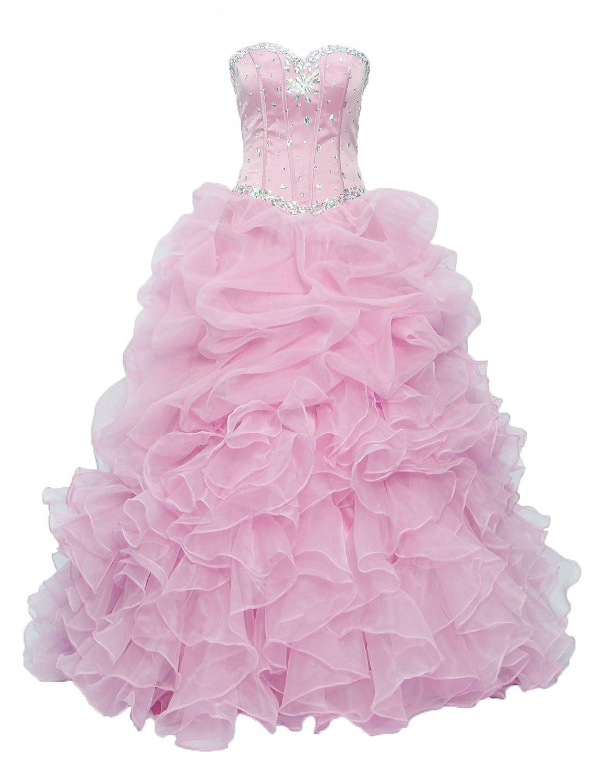 bd1652c78df Amazon.com  Ruffles Organza Quinceanera Dresses Prom Ball Gown Women  Princess Dress Sweet 16 Q13  Clothing