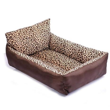 Wuwenw Almohada Leopardo Mascota Nido De Primavera Y Verano Pequeño Perro Cama Sofá Gato Arena 55X45X132Cm