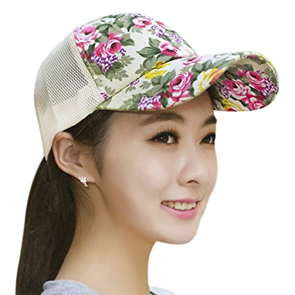 Womens Floral Print Baseball Cap Girls Summer Mesh Breathable Ball Caps  Tennis Golf Beach Sun Hat 6bc8760bbae