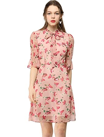 c41415b1 Allegra K Women's Casual Chiffon Floral Fit and Flare Dress XS Pink