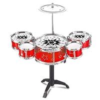 Murieo Enfants Set Batterie Jouets Musical Instrument 5 Drums avec Petits Cymbal Tabouret Pilons pour Garçons Filles,Jouet Éducatif Tôt pour Enfant (Rouge)