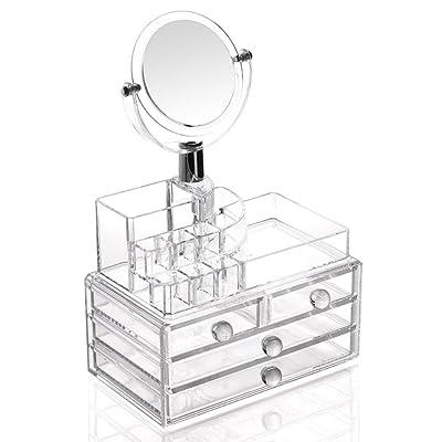 Étui cosmétique HWF Boîte à bijoux Boîte de rangement en acrylique transparente Organisateur