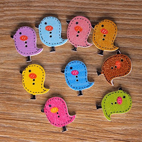 50Pcs Mixed Wooden Buttons Cute Bird Pattern Decoration Buttons 2 Holes Sewing Accessories botones Craft DIY Scrapbooking (Fabric Covered Shank Button)